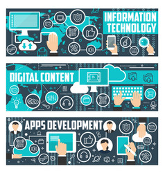 information technology data banners vector image