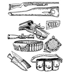 ink hand drawn hunting equipment set vector image