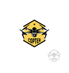 isolated hexagon shape yellow color quadrocopter vector image