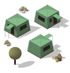 isometric set of tourist tents vector image