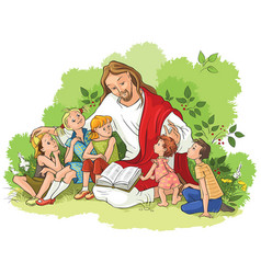 Jesus reading the bible to children vector
