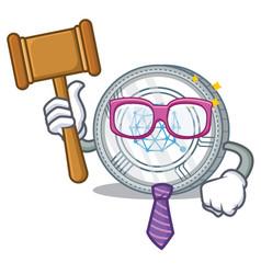 Judge qtum coin character cartoon vector