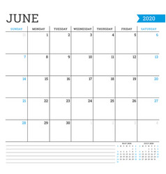 June 2020 square monthly calendar planner vector