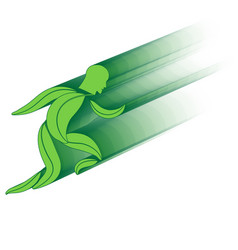 Leaf environment running man concept vector