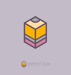 Logo pencil box cube hexagon vector