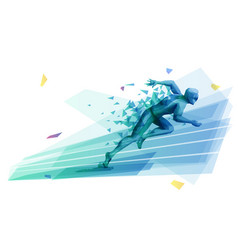 male athlete starting race from blocks vector image