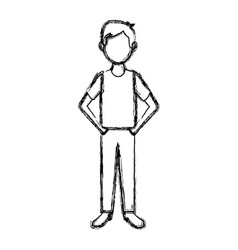 man in casual clothes standing character person vector image