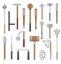 medieval weapons ancient protection warrior vector image