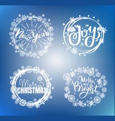 Merry christmas happy new year bright joy text vector