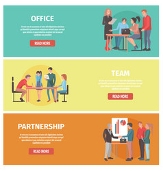 office team partnership posters with text set vector image