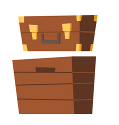old suitcase and wooden chest vector image
