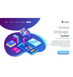 Online language school isometric 3d landing page vector