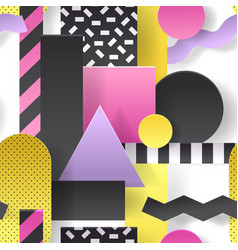 paper cut out seamless pattern geometric shapes vector image