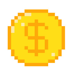 Pixel dollar icon vector