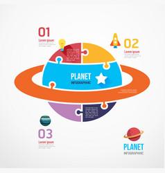 Planet shape jigsaw banner concept design vector