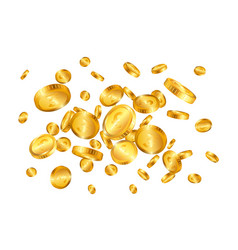 Pound gold coins explosion isolated on white vector