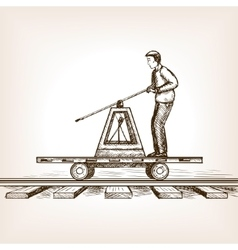 Railway draisine sketch style vector