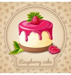 Raspberry cake emblem vector image