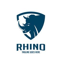 rhinoceros head shield logo design vector image