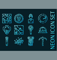 set archeology blue glowing neon icons vector image