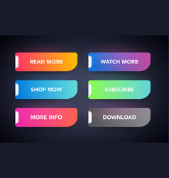 Set modern colorful neon glowing buttons vector