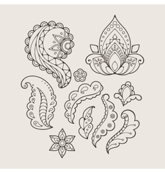 Set of abstract flowers and paisley elements in vector image