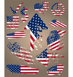 Set of elements with flag usa vector image