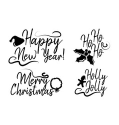 set of merry christmas card with calligraphy text vector image