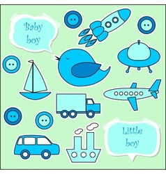Set of scrapbook elements for baby boy vector image