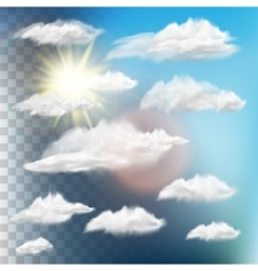 Set of transparent clouds with sun EPS 10 vector image