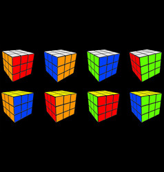 set rubik cube cube toy puzzle 3x3 square vector image
