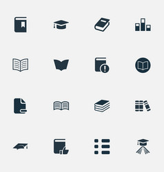 set simple books icons vector image