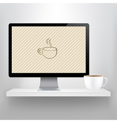 Shelf With Computer And Cup Of Coffee vector image vector image