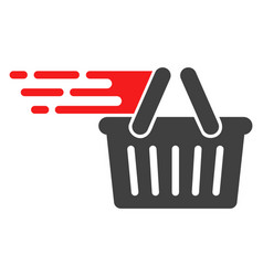 Shopping basket with fast speed effect vector
