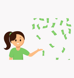smiling young woman pointing falling money vector image