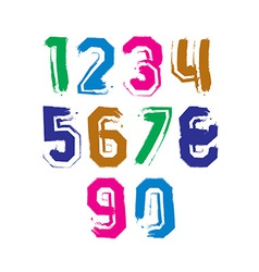 Stroked bright numbers set drawn with real ink vector image