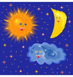 Sun Moon And Cloud On The Starry Sky vector image