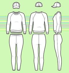 Sweatshirt cap and leggins set vector