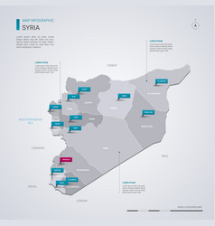 syria map with infographic elements pointer marks vector image
