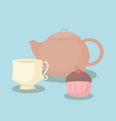 teapot with sweet cupcake vector image