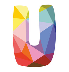 U colorful letter isolated on white background vector