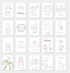 valentines day card set with hand drawn style vector image