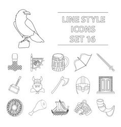 vikings set icons in outline style big collection vector image