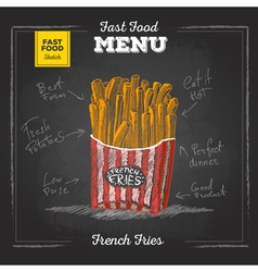 Vintage chalk drawing fast food menu French fries vector image