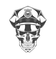 vintage monochrome skull with police headdress vector image
