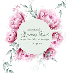 Watercolor peony flowers weath blossom card vector
