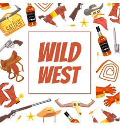 wild west banner template with western symbols vector image