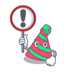 With sign party hat character cartoon vector