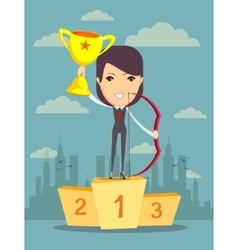 Woman proudly standing on the winning podium vector