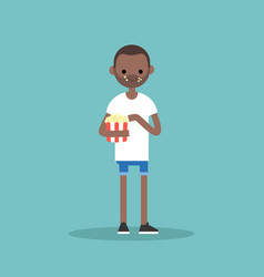 Young black man chewing popcorn full length vector